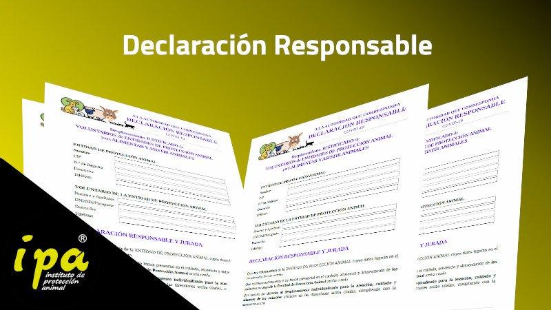 Declaración Responsable para atender animales durante el Estado de Alarma (R.D. 926/2020)
