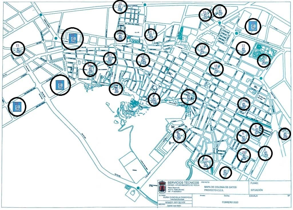 Mapa Censal de Colonias Felinas en Yecla, Murcia